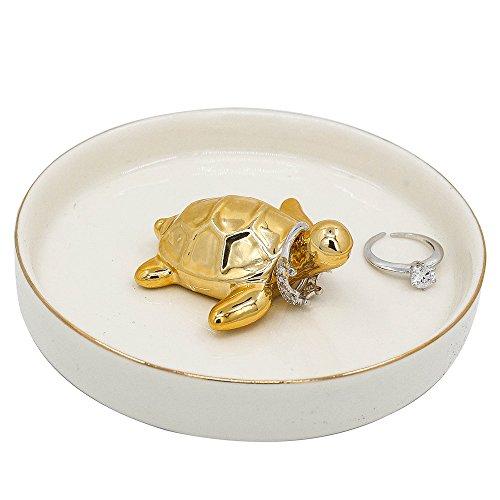 wanya cerámica anillo joyería soporte Decor plato organizador, tortuga