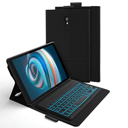 Jelly Comb Samsung Galaxy Tab A 10.5 Tastatur Hülle, Bluetooth Beleuchtete QWERTZ Tastatur mit Schützhülle für Samsung Galaxy Tab A 10,5 Zoll SM-T590/SM-T595, 7-farbige Beleuchtung, Schwarz