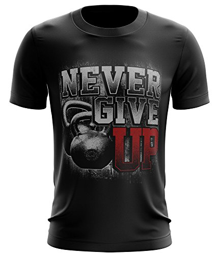 Stylotex ® Fitness T-Shirt Herren Sport Shirt | Never Give Up | Gym Tshirts für Performance beim Training | Männer Kurzarm | Funktionelle Sport Bekleidung, Größe:XL, Farbe:schwarz