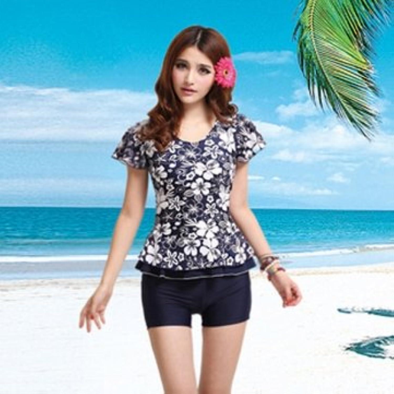 Man Friday Women Split Slim Swimsuit Print Short Sleeve Spa Swimsuit