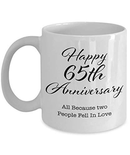 Regalo de aniversario de 65 años para hombres, su pareja, esposo, esposa, padres, él, mujeres, novio, novia, feliz 65a boda, taza de café
