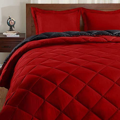 Basic Beyond Daunen-Alternativ-Bettdecken-Set (Queen, Schwarz/Rot) – Wendebettdecke mit 2 Kissenbezügen für alle Jahreszeiten