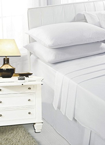 Highliving 100% Egyptian Cotton 200 Thread Count Fitted Sheet, White, Cream (Single, White)