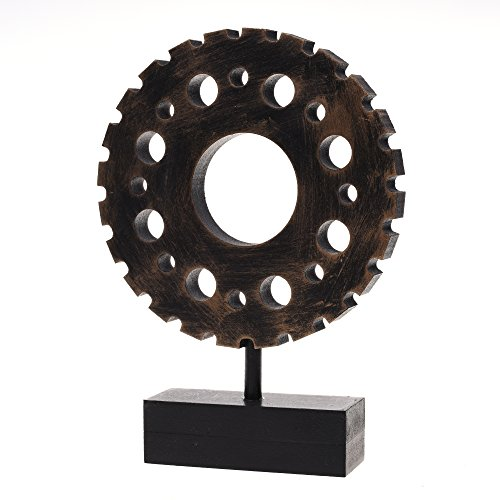 Kloud City Industrial Stlye 4.75'' Round Gear Antique Handmade Wooden Vintage Design for Home , Bar Decoration Decor