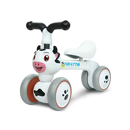 YGJT Bicicletas sin Pedales para Niños 1 Año(10-36 Meses), Triciclos Bebes Correpasillos para Ejercitar la Capacidad de Equilibrio de Niños, Juguetes Regalos para Cumpleaños, el Año Nuevo (Vaca)
