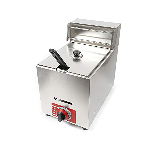 11 Liter Commercial Stainless Steel Deep Fryer High Capacity Professional Gas Countertop Kitchen Frying Machine for French Fry Restaurants Supermarkets Fast Food Stands Snack bars, Parties