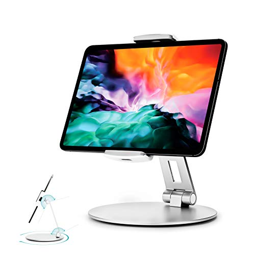 """Stouchi iPad Pro 12.9 Stand, 360°Tablet Swivel Base Stand Tablet Holder Stand for iPad, Adjustable Desk Mount Holder for POS Kiosk, Surface Pro 4, 2020 iPad Pro iPad Mini fits 4-14"""" Tablets Silver"""