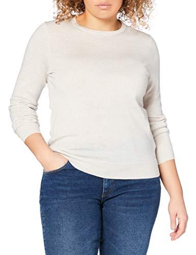 Marchio Amazon - MERAKI Pullover Lana Merino Donna Girocollo, Beige (Oatmeal), 46, Label: L