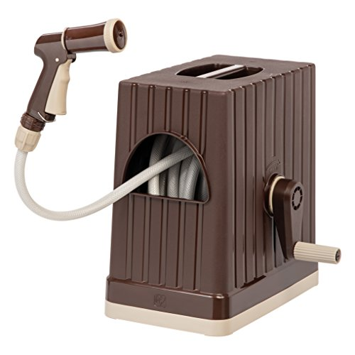 IRIS 98.42 FT Hose Reel with Nozzle, Brown