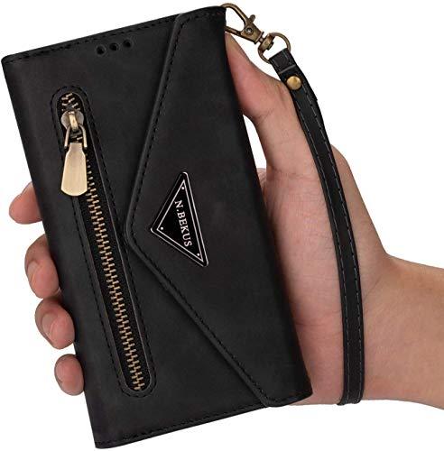Kompatibel mit Samsung Galaxy A21 Hülle Leder Tasche Brieftasche Flip Wallet Case Schutzhülle Handyhülle Reißverschluss Geldbörse Klapphülle Handytasche mit 5 Kartenfächer,Schwarz