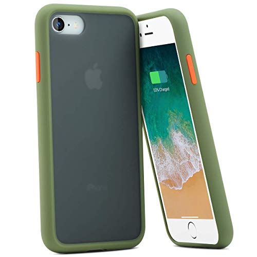 BENKS スマホケース iPhone SE 第2世代 ケース iPhone8 ケース iPhone7 ケース【2020年新型】対応 背面半透明 指紋防止 耐衝撃 すり傷防止 黄ばみなし レンズ保護 ワイヤレス充電対応 (グリーン+オレンジ(ボタン))