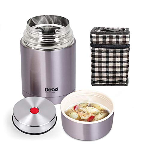 Soup Thermos 18/8 Stainless Steel Bpa-Free Keeps Food Liquid Hot or Cold 24 Hours Thermos Food Jar 26 Ounce Hot Food Thermoses Purple