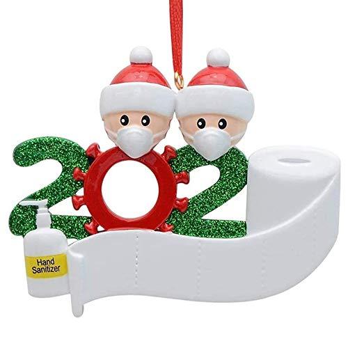 Sopravvissuta Family Covid Ornamento con Maschere per il viso e Sanitized 2020 Decorazioni natalizie