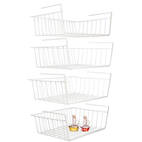 Under Shelf Basket, 4 Pack White Wire Rack, Slides Under Shelves for Storage Space on Kitchen Pantry Desk Bookshelf Cupboard