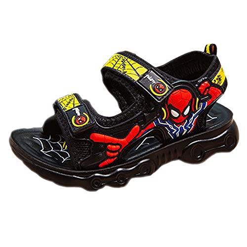 MODRYER Boys Kids Beach Sandals Spiderman Summer Beach Poil Poil Zapatos Abre Toe Mules Unisex Childrens Garden Atline Atline,Yellow-26/Inner Length 17cm