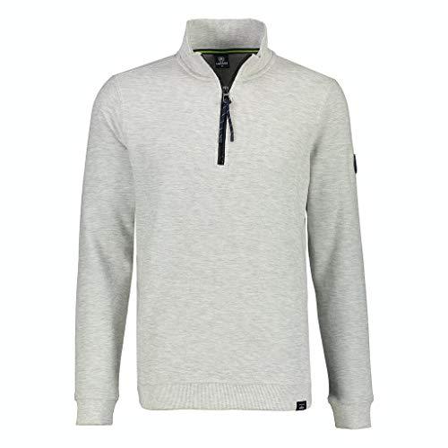 LERROS Herren Sweat Troyer Sweatshirt, Broken White Melange, XXL
