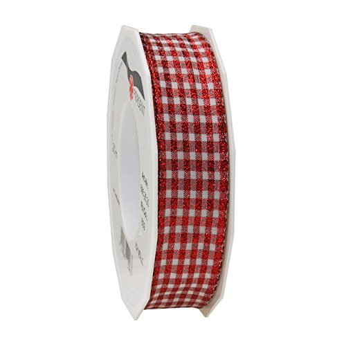Present band met draadrand, rood/wit, 20 m rol 25 mm