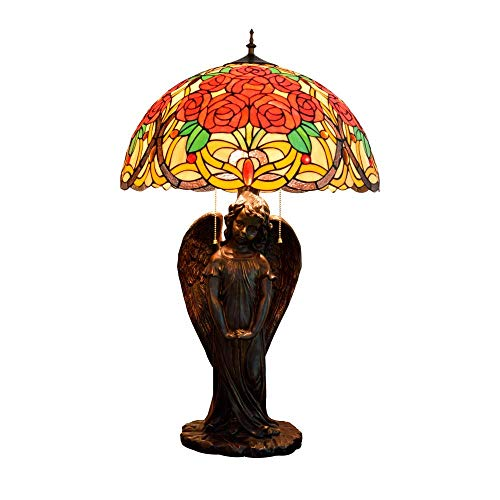 PYROJEWEL modern Rose Angel Art Stained Glass Desk Lamp For Living From Vintage Bedside Lamp Room Indoor Table Lamps