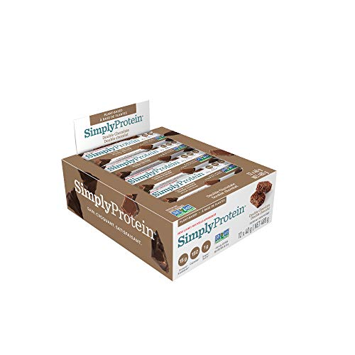 SimplyProtein Bar - Double Chocolate - High Protein, 1g Sugar, Vegan, Gluten Free, Very High Fibre, Non GMO - 12 Count