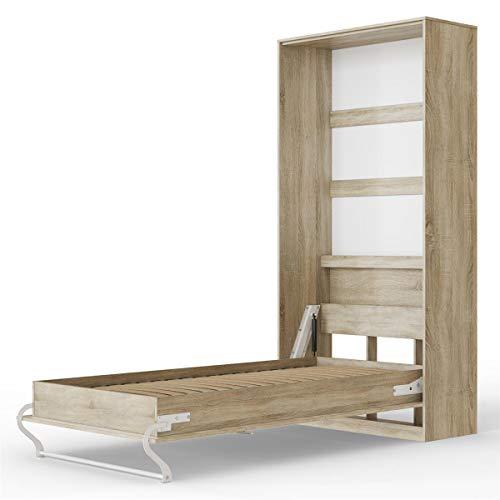 SMARTBett Standard 90x200 Vertikal Eiche Sonoma Schrankbett | ausklappbares Wandbett, ideal geeignet als Wandklappbett fürs Gästezimmer, Büro, Wohnzimmer, Schlafzimmer