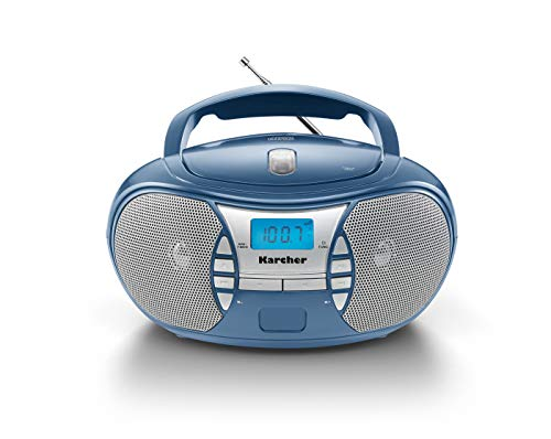 Karcher RR 5025-C tragbares CD Radio (CD-Player, UKW Radio, Batterie/Netzbetrieb, AUX-In) blau