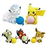 5 Pz / Set Pokemon Pikachu Gashapon Litten Mimikyu Eevee Action Figure Giocattoli Per Bambini 4-5 Cm