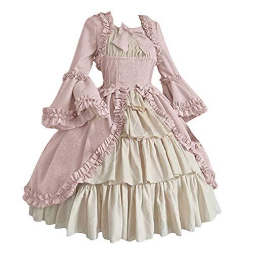Xianglun Damen Retro Rokoko Ballkleid viktorianischen Spitze Kostüm Kleid gotischen mittelalterlichen Bowknot Lange Kleider Vintage Cosplay Kostüme für Halloween-Party