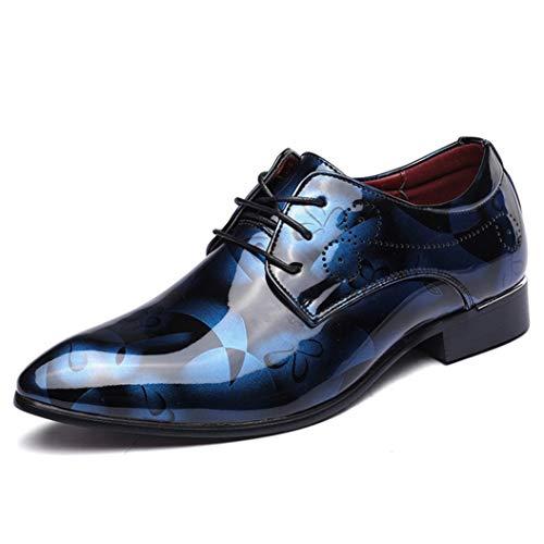 Zapatos de Negocios para Hombres Zapatos de Vestir de Charol Puntiagudos con Cordones Oxford Derby Zapatos de Vestir de Boda Oficina Formal Vintage Pisos Casuales Tamaño Grande