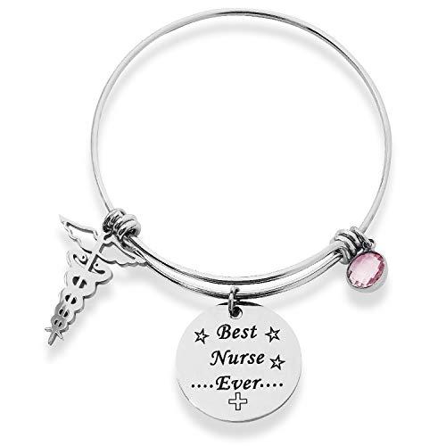 Jokmae Nurse Gift Bracelet - Best Nurse Ever Charm Bangle, Nurse's Day Graduation Birthday Appreciation Jewelry Gifts for Her Women Medical School Student Graduate Physician Assistants RN