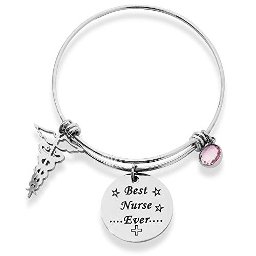 Jokmae Nurse Gift Bracelet - Best Nurse Ever Charm Bangle, Nurse's Day Graduation Birthday Appreciation Jewelry Gifts for Her Women Medical School Student Graduate Physician Assistants RN