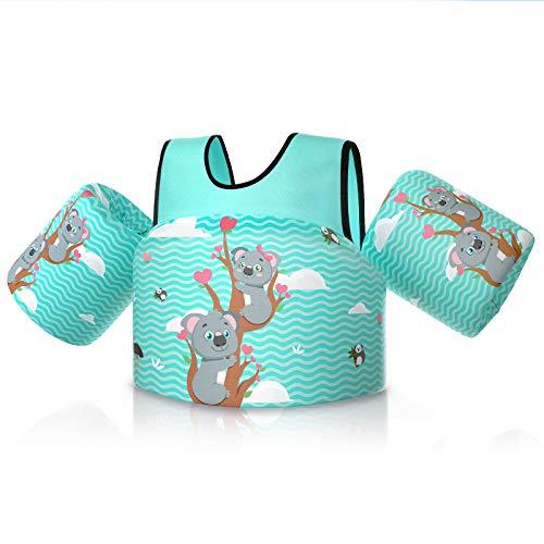 Rrtizan Chaleco Flotante para Niños con Brazalete, Dispositivo para Niños, Dispositivos de Entrenamiento de Natación Plegables para Niños y Niñas de 2 a 5 Años, 14-30 KG (Lindo Koala- Azul Claro)