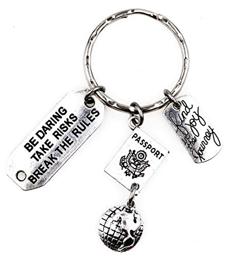 It's All About...You! Find Joy in The Journey Be Daring Take Risks Break The Rules Globe Passport Travel Keychain 105Ae