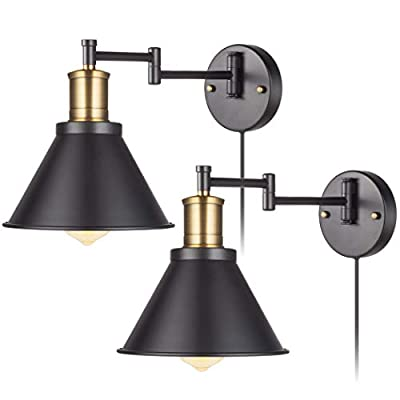 YeLEEiNO Swing Arm Wall Lamp Plug-in Cord Industrial Wall Sconce, Bronze and Black Finish,with On/Off Switch, E26 Base UL Listed,Bedroom Wall Lights Fixtures,Bedside Reading Lamps (2 Lights)