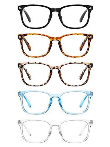 CCVOO 5 Pack Reading Glasses Blue Light Blocking, Filter UV Ray/Glare Computer Readers Fashion Nerd Eyeglasses Women/MenC1 Mix, 1.5)