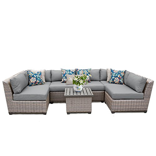 TK Classics FLORENCE-07c 7 Piece Outdoor Wicker Patio Furniture Set