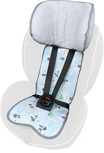 PRIEBES FELIX Sitzauflage für Autokindersitz Gruppe 1 | Universal Sitzeinlage für Kindersitze | Schonbezug 100% Baumwolle | waschbar & atmungsaktiv |beidseitig verwendbar, Design:füchse
