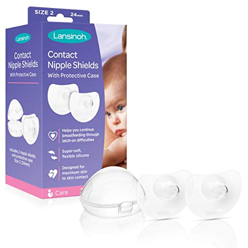 Lansinoh Contact Nipple Shields for Nursing Newborn, 2 Count 24mm