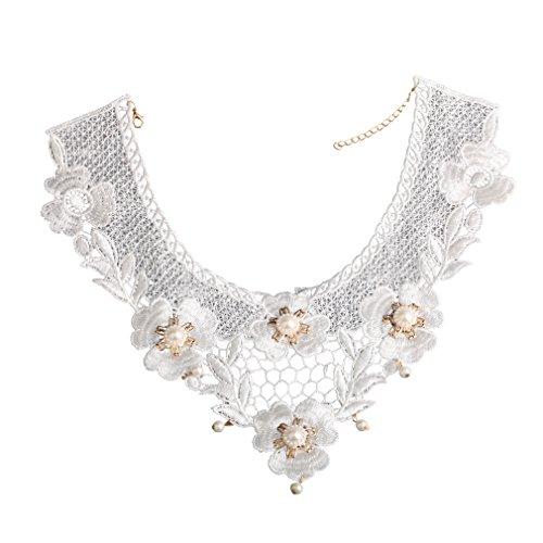 YAZILIND Lolita Blanco Hecho a Mano del Cordš®n Atractivo Elegante del Collar del Collar de la Flor del Applique de la Perla de Faux gš®Tica
