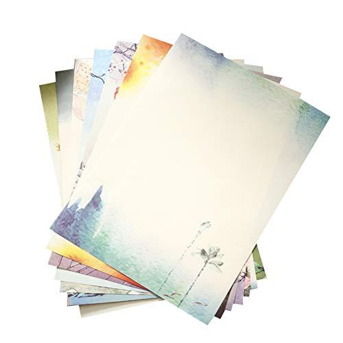 STOBOK 64 Pcs Chinesischen Briefpapier Vintage Schreibpapier Schreibwaren Brief Sets (8 Verschiedene Muster)