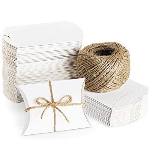 Xinlie Rustikale DIY Geschenkboxen Kraftpapier Pralinenschachtel Kraft Papier Geschenk Box Geschenke Boxen Geschenkverpackung mit Juteschnur für Süßigkeiten,Schmuck,Nuss,Schokolade(50 Stück) (Weiß)