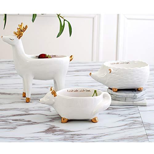 XHZJ Pot de Fleur charnu en céramique Blanche de Forme Animale, Assiette de Fruits de Stockage de Bijoux de Phnom Penh, décoration de Salon créative Pot de Fleur décoratif de Forme Animale,