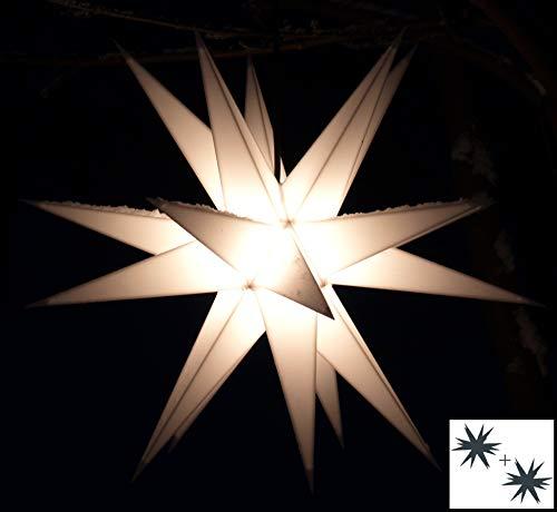 Guru-Shop LED Ministern Baltasar für Innen, Außen - Weiß, Plastik, Variante: Erweiterungsset Ohne Trafo, 18x18x18 cm, Weihnachtsstern, Adventsstern
