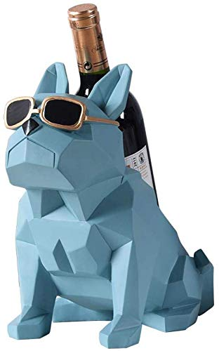 XYNB Estantes de Vino Geometría Abstracta Estatua de Bulldog Botellero de Vino Estante de Resina Decorativa Pit Bull Dog Wine Holder Display Barware Gift, Sky Blue, Sky Blue