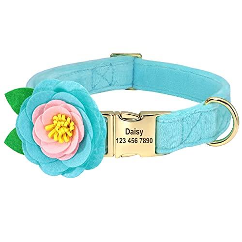 Beirui Collar de terciopelo suave para perro con accesorios de flores extraíbles, collar de perro personalizado con placa de nombre – Collar adorable para perros pequeños medianos grandes (azul, S)