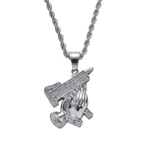Moca Jewelry Collar con colgante de pistola de mano de Hip-Hop con cadena de acero inoxidable y cristales para hombres y mujeres