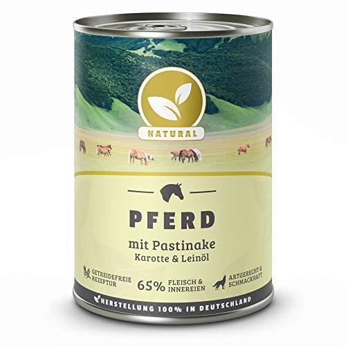 Hundeland Natural | Pferd + Pastinake | 6 x 400 g | getreidefreies Hundefutter | Nassfutter für alle Hunderassen | viel frisches Fleisch | artgerecht & besonders gut verträglich