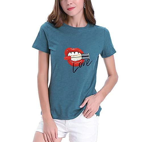 SLYZ 2021 Camiseta Casual De Manga Corta para Mujer Blusa De Manga Corta con Estampado De Labios con Estampado Digital