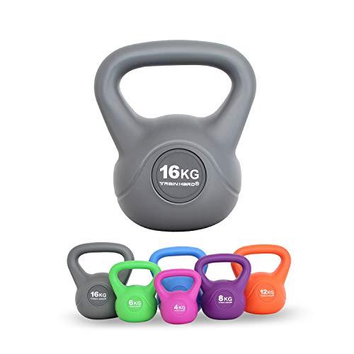Train Hard Kettlebell 4-16 kg, Kugelhantel Kunststoff mit Zement Füllung in 6 Farbig, Studio-Qualität für Krafttraining Gymnastik und Heimtraining (16 KG - Grau)…