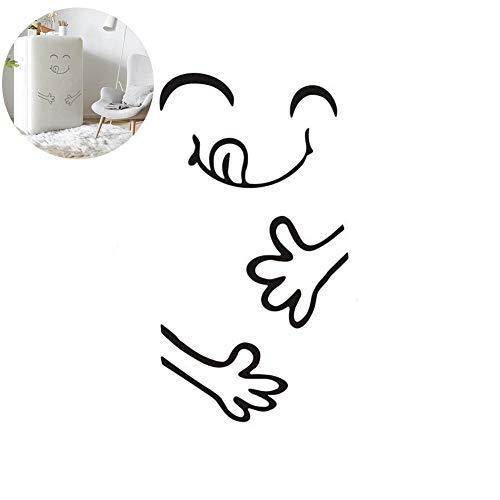 ouken Patrón 1PC engomada Linda Cara Sonriente Frigorífico Cocina Nevera engomadas de la Pared del Arte Sonriente Monocromo Divertidas y Creativas Decoración del hogar Pegatinas (Negro, 21.6'x28)