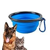 Edipets, Comedero para Perro portátil, Cuenco Bebedero de Viaje, Plegable, Tazón de Silicona, Bowl para Agua o Comida, con Mosquetón, Apto para Perro y Gato (S, Azul)